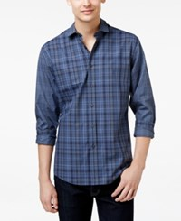 Vince Camuto Men's Block Plaid Long Sleeve Shirt Grey Navy