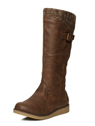 Evans Brown Wedge Knit Boot