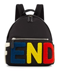 Fendi Furry Logo Nylon Backpack Multicolor Multi Colors