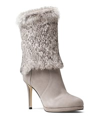 Michael Michael Kors Faye Rabbit Fur And Suede Mid Calf High Heel Booties Pearl Gray