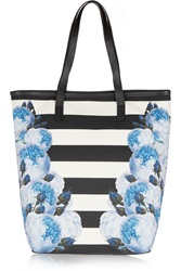 Mother Of Pearl Halina Floral Print And Striped Brushed Satin Tote Blue