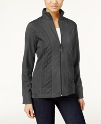 Styleandco. Style Co. Petite Fleece Quilted Jacket Only At Macy's Steel Grey Heather