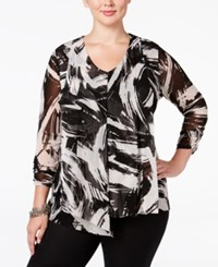 Alfani Plus Size Layered Mesh Blouse Only At Macy's Brush Stroke