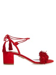 Aquazzura Wild Thing Fringed Block Heel Suede Sandals Red