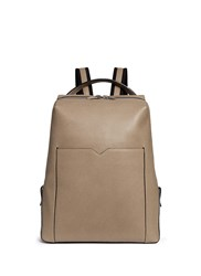 Valextra 'V Line' Leather Backpack Grey