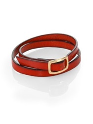 Robin Rotenier Seville Leather Wrap Bracelet Red Gold
