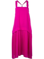 Kenzo Pleated Dress Pink And Purple