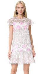 Giambattista Valli Short Sleeve Dress Pink Black Multi