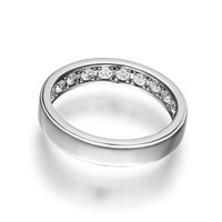 Openjart Sapphires Inside Women's Solid Wedding Ring White Gold