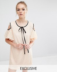Sister Jane Cold Shoulder Lace Volante Dress With Frill Detail Nude