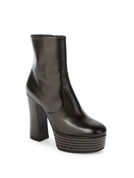 Saint Laurent Candy Stud Trim Leather Platform Booties Noir