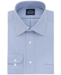 Eagle Men's Classic Fit Stretch Collar Non Iron Blue Check Dress Shirt