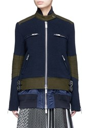 Sacai Double Layer Rib Knit And Nylon Biker Jacket Blue