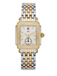 Michele Deco Diamond Mother Of Pearl 18K Goldplated And Stainless Steel Bracelet Watch Silver Gold