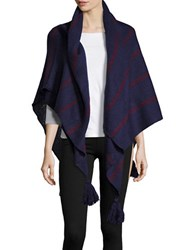 Collection 18 Striped Knit Tassel Wrap Navy Blue