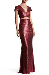 Dress The Population Women's Cara Sequin Two Piece Gown
