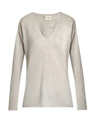 Le Kasha Male V Neck Cashmere Sweater Light Grey