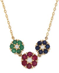 Macy's Multi Gemstone 2 1 3 Ct. T.W. Collar Necklace In 14K Gold Yellow Gold
