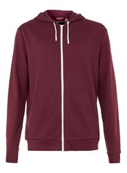 Topman Burgundy And Off White Zip Through Hoodie Red