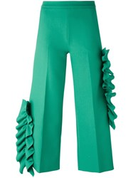 Msgm Side Frill Cropped Trousers Green