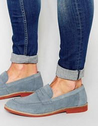 Asos Penny Loafers In Blue Suede Powder Blue