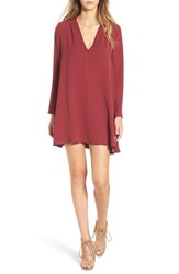 Astr Women's V Neck Long Sleeve Shirtdress Burgundy