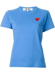 Comme Des Gara Ons Play Embroidered Heart T Shirt Blue