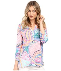 Lilly Pulitzer Egret Top Multi Tile Wave Women's Clothing