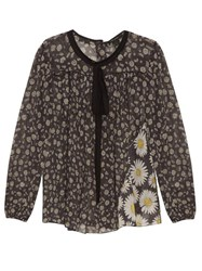 Marc Jacobs Daisy Print Cotton Voile Blouse Black Multi