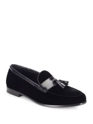 Giorgio Armani Leather Trimmed Velvet Tasseled Loafers Black