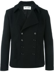 Saint Laurent Buttoned Short Peacoat Black