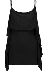 Bailey 44 Ruffled Chain Embellished Stretch Jersey Tank Black