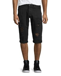 Prps Distressed Slim Fit Denim Shorts Black Men's