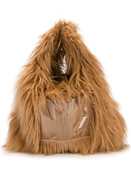 Maison Martin Margiela Mm6 Faux Fur Hobo Tote Brown