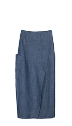 Tibi Rigid Denim Paneled Long Skirt