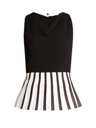 Roland Mouret Oram Sleeveless Peplum Hem Top Black White