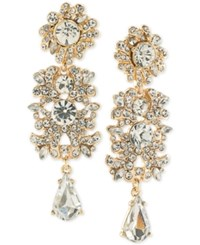 Abs By Allen Schwartz Gold Tone Crystal Cluster Chandelier Earrings