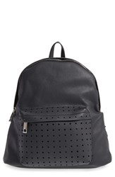 Street Level Perforated Faux Leather Backpack Black