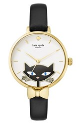 Kate Spade Women's New York 'Black Cat' Leather Strap Watch 34Mm