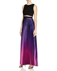 Aqua Ombre Pleated Illusion Waist Gown Navy Magenta