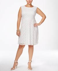 Love Squared Trendy Plus Size Fit And Flare Dress White