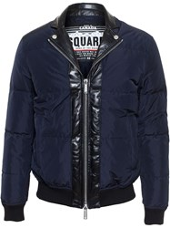 Dsquared2 Puffa Jacket With Leather Trim Blue