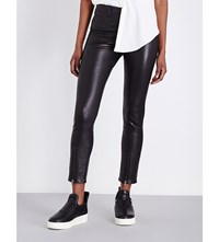Helmut Lang Zip Detail Tapered Mid Rise Leather Trousers Black