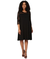 Karen Kane Plus Size 3 4 Sleeve Lace Yoke Swing Dress Black Women's Dress