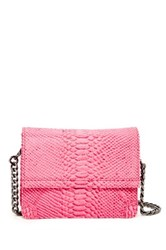 Alice Olivia Clee Snake Embossed Leather Crossbody Pink