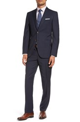 David Donahue Men's Big And Tall 'Ryan' Classic Fit Glen Plaid Wool Suit Navy
