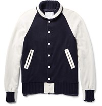 Sacai Two Tone Wool And Cashmere Blend Jacket Navy