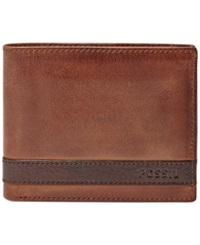 Fossil Quinn Bifold With Flip Id Wallet Brown