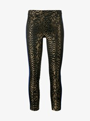 Haider Ackermann Silk And Leather Skinny Printed Trousers Black Blue
