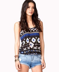 Forever 21 Tribal Print Tulip Back Tank Black Royal